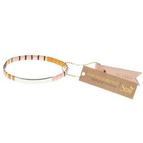 Women's Scout Curated Wears Good Karma Miyuki Bracelet | Be Fierce - Pink/Mustard/Silver