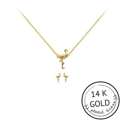 Women's Kitsch Flamingo Necklace & Earring Set