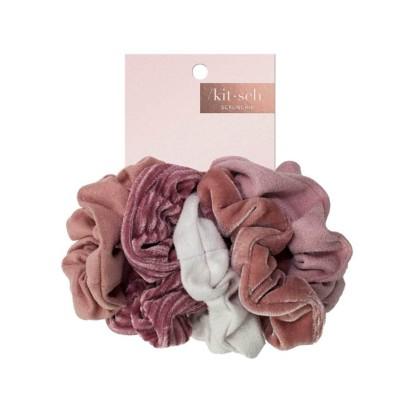 Women's Kitsch Velvet 5 Pack Blush/Mauve Scrunchies