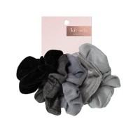 Women's Kitsch Velvet 5 Pack Black/Grey Scrunchies