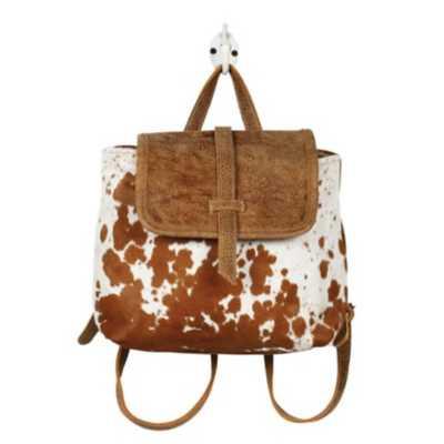 Women's Myra Bag Leather Flap Hairon Backpack Bag