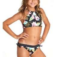 Grade School Girs' Billabong Night Bloom High Neck Bikini Set