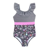 Toddler Girls' Nano Ruffle Stripe One Piece Swimsuit