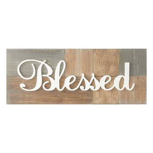 K & K Interiors Rustic Blessed Wall Sign