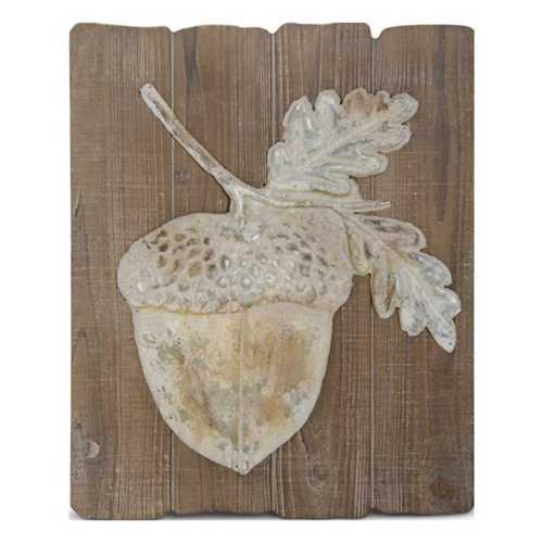 K & K Interiors Wood and Metal Whitewash Acorn Wall Art