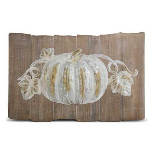 K & K Interiors Wood and Metal Whitewash Pumpkin Wall Art