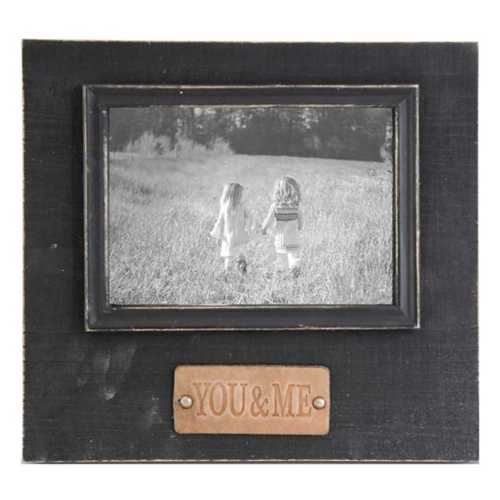 K & K Interiors You & Me Embossed Leather Tag Black Wooden Photo Frame