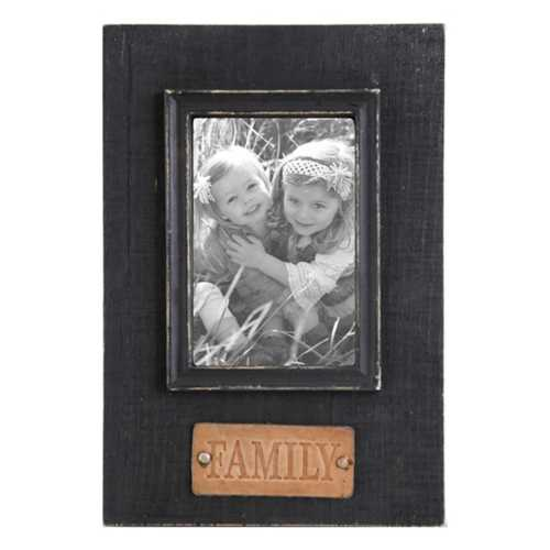 K & K Interiors Family Embossed Leather Tag Black Wooden Photo Frame