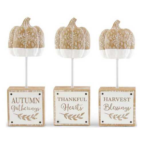 K & K Interiors Assorted Carved Pumpkin Spindles on Inspirational Harvest Message Block