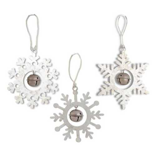 K&K Interiors Assorted Jingle Bell Galvanized Snowflake Ornament