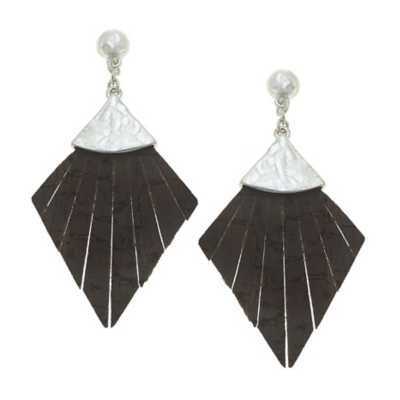 Women's Canvas Style Helena Leather Statement Earrings
