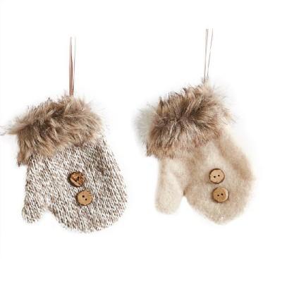 K & K Interiors Assorted Cream & Tweed Fur Mittens Ornament