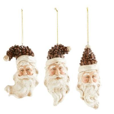 K & K Interiors Assorted Pinecone Santa Hat Ornaments