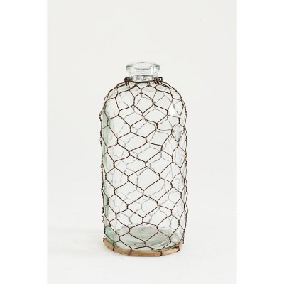 K & K Interiors Glass Bottle with Wire Mesh Netting