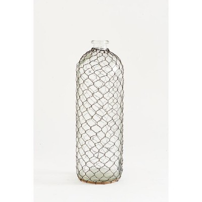 K & K Interiors Tall Slender Glass Bottle with Wire Mesh Netting