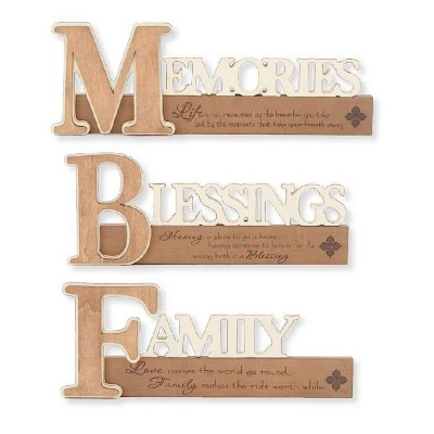 K & K Interiors Assorted Wooden Embossed Harvest Cutout Tabletop Sign