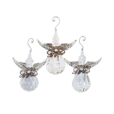 K & K Interiors Assorted Clear Crystal Angel Ornament
