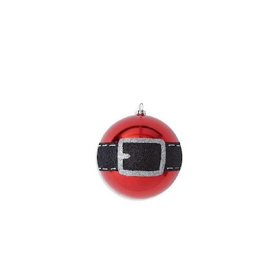 K & K Interiors Red Santa Belt Shatterproof Ornament
