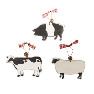 K & K Interiors Assorted Wooden Fargm Animal Ornaments with Rustic Bell