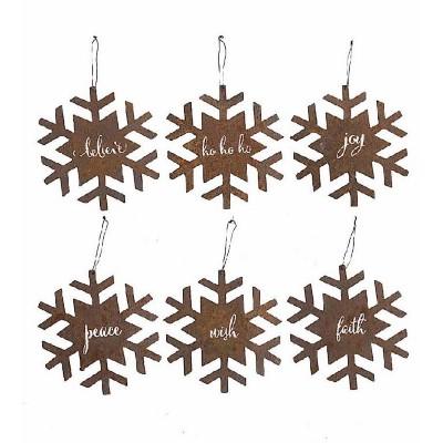 K & K Interiors Assorted Rusty Metal Snowflake Ornaments