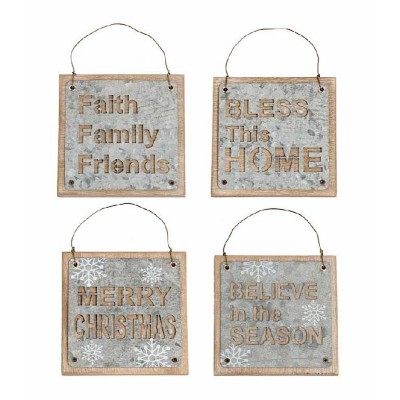 K & K Interiors Assorted Galvanized Snowflake Square Message Ornaments