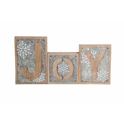 K & K Interiors JOY Galvanized Snowflake Bricks