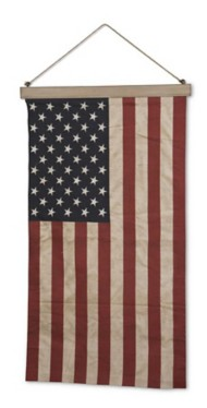 K & K Interiors 47 Inch Vintage American Flag w/ Hanger