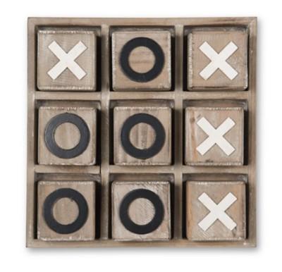 K & K Interiors Natural Wooedn Tic Tac Toe Game
