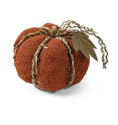 K & K Interiors Large Orange Burlap Pumpkin with Braided Twine