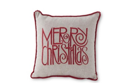 K & K Interiors Grey Canvas Pillow with Red Merry Christmas