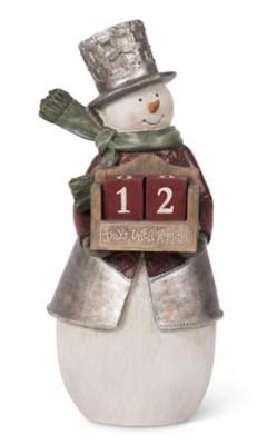 K & K Interiors Resin Snowman Holding Countdown Calendar