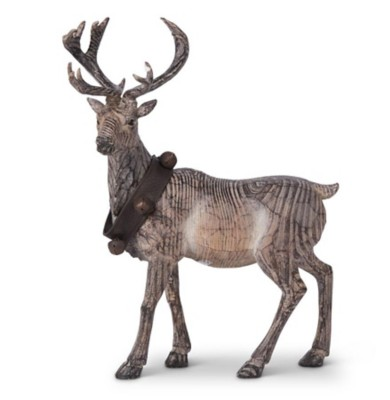 K & K Interiors Carved Resin Standing Reindeer with Bell Collar