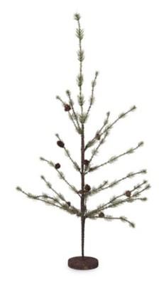 K & K Interiors Ice Pine Tree with Mini Pinecones