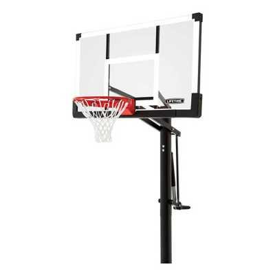 "Lifetime 54"" In-Ground Tempered Rigid Arm Pump Adjust Basketball Hoop"
