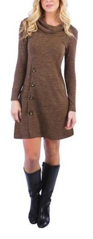 Women's Neesha Cowl Neck Button Dress