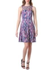 Women's Neesha Criss Cross Lattice Fit and Flare Dress
