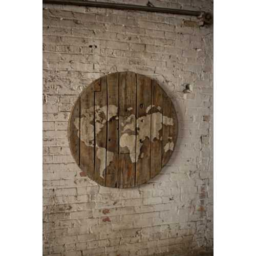 Kalalou Repurposed Wooden Spool World Map