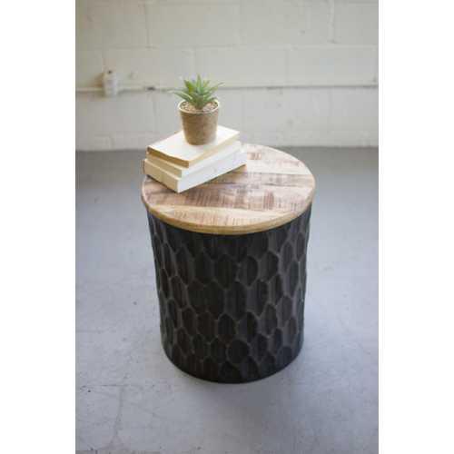 Kalalou Pressed Metal Side Table with Mango Wood Top
