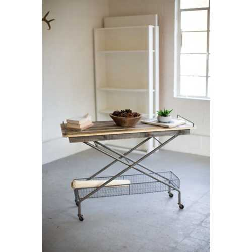 Kalalou Recycled Wood Console Table with Basket