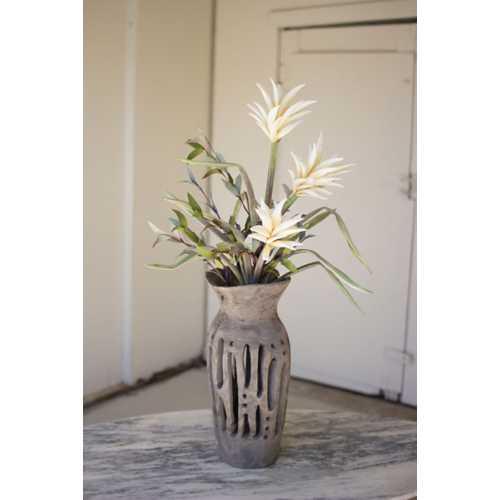 Kalalou Carved Wooden Bottle Vase