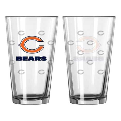 Logo Brands Chicago Bears Satin Etched 16oz. Glass