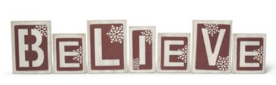 K & K Interiors Red & White BELIEVE Bricks with Cutout Overlay