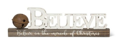 K & K Interiors Vintage BELIEVE Tabletop Wood Cutout with Rusty Bell