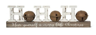 K & K Interiors Vintage HoHoHo Tabletop Wood Cutout with Rusty Bell