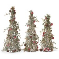 K & K Interiors Pine Cones & Gold Jingle Bell Snowy Large Tree