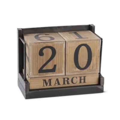 K & K Interiors Wooden Block Calendar