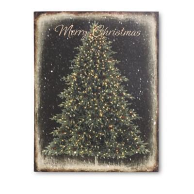 K & K Interiors Battery Operated LED Black Christmas Tree Canvas