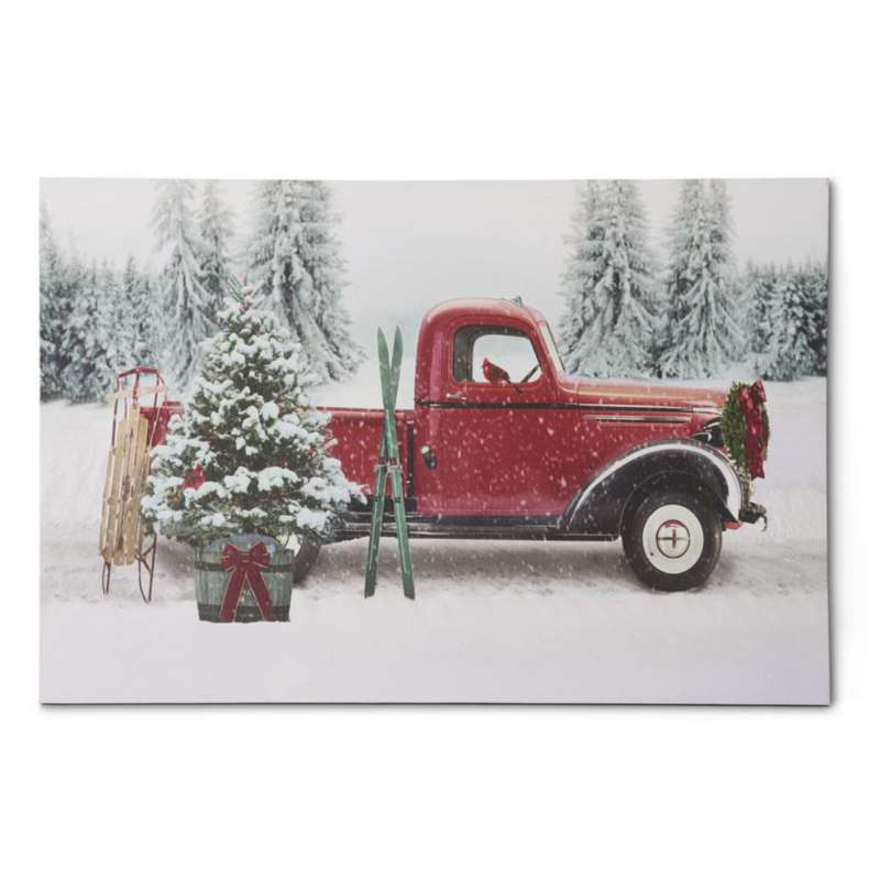 K & K Interiors Battery Operated LED Red Vintage Truck with Christmas Tree Canvas