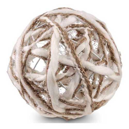 K&K Interiors Cream and Tan Yarn Ball Ornament