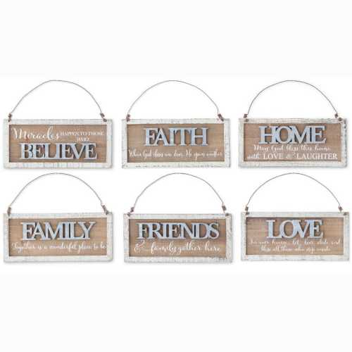 K & K Interiors Assorted Wooden & Tin Message Ornaments